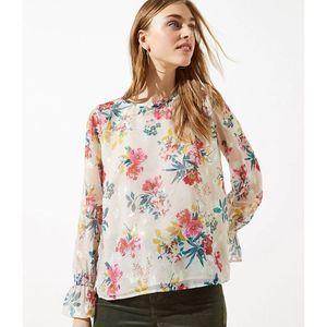 LOFT Floral Bell Cuff Blouse Floral Pink Gold Med
